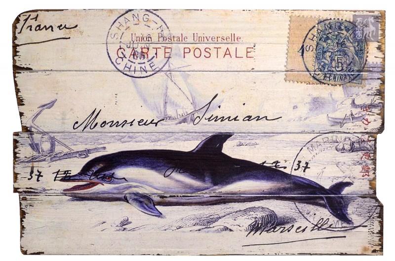 nostalgie holzbild postkarte delfin marseille i retro. Black Bedroom Furniture Sets. Home Design Ideas