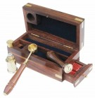 Maritimes Siegel Set - Petschaft - Messing - Teak Box