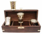 4 Schnapsbecher Rumbecher - Messing - Teak Box